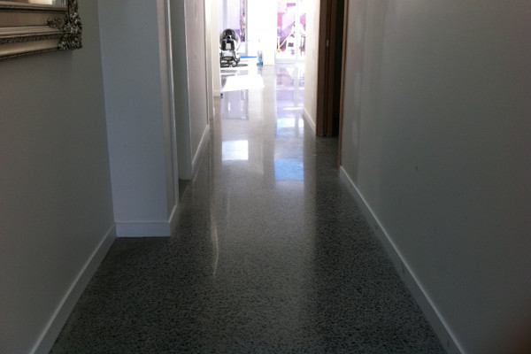 polished concrete floor and door